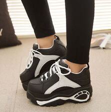 2015 Womens High Platform Round Toe Lace Up Athletic Sneaker Boots Creeper Shoes