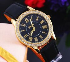 Fashion Geneva Golden Crystal Leather Luxury Lady Women Quartz Wrist Watch