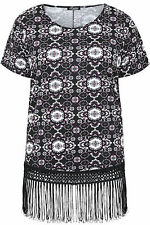 Yoursclothing Plus Size Womens Print Top With Fringing Detail