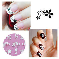 6x SHEETS WHITE/BLACK FLOWER LACE 3D NAIL ART STICKERS DECALS SELF ADHESIVE