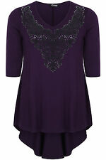 Plus Size Womens Caviar Beaded Top With 3/4 Sleeves And Godet Back
