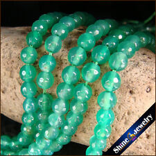 """6mm Natural Gemstone Green Druzy Agate Faceted Round Beads Strand 15"""" Jewelry"""