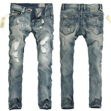 Washed Ripped Jeans Mens Skinny Trousers Retro Denim Scratch Hole Slim Fit Pants