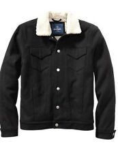 NEW MENS  L OLD NAVY FAUX SHEARLING LINED WOOL BLEND JACKET UTILITY COAT BLACK