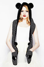 Hell Bunny Black & White Polka Dot Bear PVC Heart Marvel Hat