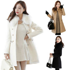 Fashion Women's Slim Faux Fur Trench Parka Double-Breasted Winter Coat Jacket DQ