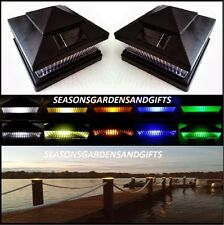 Solar Post Cap Deck Fence Color LED Lights 5x5 or 6x6 Black Colored 2 Pack
