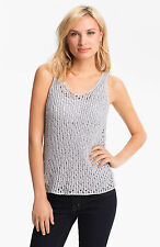 Eileen Fisher Sequin Chainmail Mesh Tank, Silver, S, L,  NWT