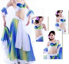 Belly Dance Costume Performance Dress 4pcs set Gradient Color Chiffon Dancewear