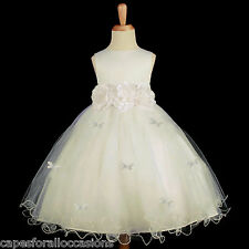 IVORY BUTTERFLIES WEDDING EASTER BAPTISM FLOWER GIRL DRESS 12M-18M 2 3T 4 6 8 10
