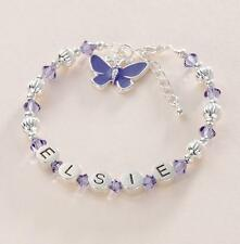 Any Name, Girl's Personalised Bracelet with Tanzanite Crystals & Butterfly Charm