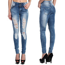 TheMogan Retro Vintage Distressed Ripped Destroyed High Waisted Skinny Jeans
