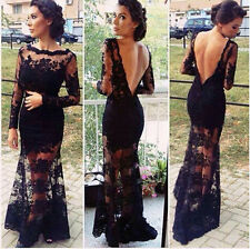 2015 New Women Sexy Black Long Sleeve Lace Dress Backless Evening Party Dress