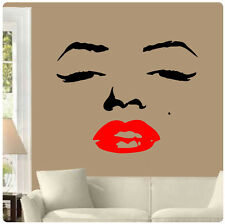 Marilyn Monroe Face Wall Decal Sticker Home Decor Red Lips CHOOSE SIZE