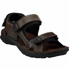 Clarks Mens SWING AWAY Brown Leather 3 Adjustable Velcro Straps Sport Sandals