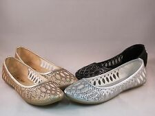 New Woman  Dress Ballet Flats slip-on Round Toe Cut Out Perforated Sheer Mesh