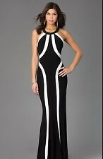 NEW Faviana 7573 Long Evening PROM Gown Black/Ivory Jersey Dress Sizes 0-12
