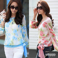 Women Korean Fashion Floral Print Chiffon Tops Long Sleeve Shirt Casual Blouse