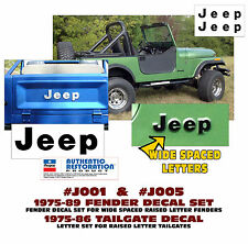 QJ-J001 J005 1975-89 JEEP CJ - FENDER LETTERS and TAILGATE DECALS - 3 DECAL KIT