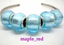 Fashion Foil Light Blue European Style Lampwork Glass Beads fit Charm Bracelet