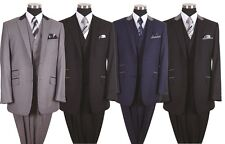 Milano Moda Men's Luxurious Wool Feel 2-Button Suit with Vest and Pants 57023