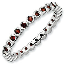 Garnet Eternity Ring .925 Sterling Silver Size 5-10 Stackable Expressions