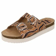 Ladies Down To Earth Brown Animal Print Twin Buckle Strap Sandals Style F10322