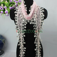 Elegant Stylish Delicate Lace With Unique Trim Tassel Thin long Triangle Scarf