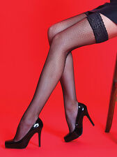 Silky Scarlet Lace Top Fishnet Hold Ups, Lace Top Fishnet Black Thigh Highs