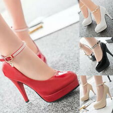 Womens Crystal Sexy Ankle Strap Platform High Heels Stiletto Pumps Prom Shoes