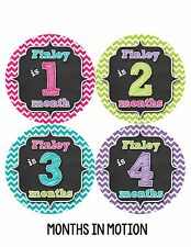 Personalized Baby Girl Monthly Stickers Custom Baby Name Month Sticker #495