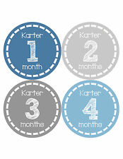 Personalized Baby Boy Monthly Stickers Custom Baby Name Boys Month Sticker 479