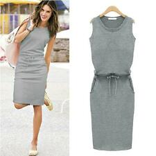 Summer Sexy Beautiful Slim Pockets Dress With Belt Pencil And Good Figure