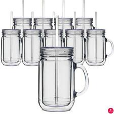 Mason Jar Acrylic Tumblers Double Wall Insulated Cups w/ Lid & Straw Wholesale