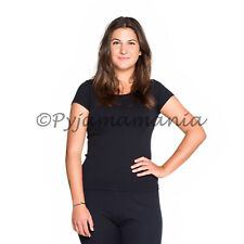 Thermals Ladies Cotton Thermal Short Sleeve Top Black (sz 8-22) Size 8-22