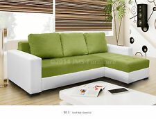 Corner Sofa Bed - NEW - fabric with faux leather