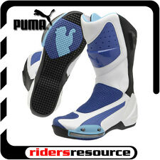 Puma Mens Desmo Race Street Motorcycle Boots White Blue
