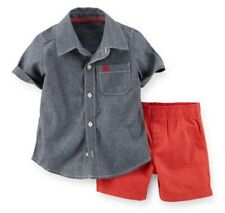 Carters Baby Boy 2-Pc Chambray  & Canvas Short Set 3 6 9 12 18 24Months Clothes