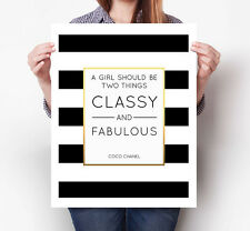 A Girl Should Be Two Things Classy & Fabulous Chanel Art Print Poster Wall Decor
