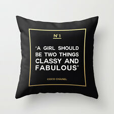 A Girl Should Be Two Things Classy and Fabulous Coco Chanel Quote Pillow Case