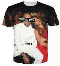 Rihanna sit near Chris brown laughing 3D T-shirt tops tshirt