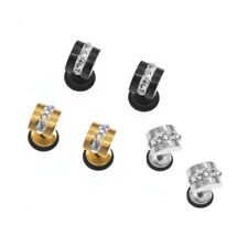 SCREW BACK TITANIUM STAINLESS STEEL DIAMANTE FASHION DESIGN STUD EARRING 1 PIECE