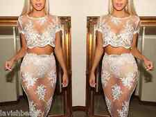 CELEB STYLE BOUTIQUE white lace mesh dress skirt top embroidered piece No lining