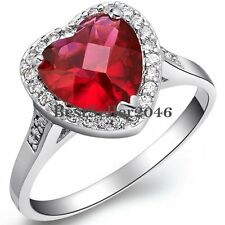 Accent Red Heart Shape Stone Valentine Love Anniversary Gift for Girlfriend