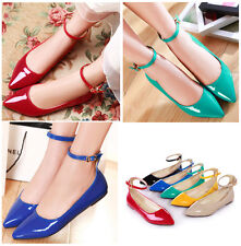 Womens Girls Ballet Flat Oxfords Sweet Candy Ankle Strap Pump Shoes Plus Size