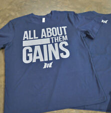 NEW Men's Muscle Club ALL ABOUT THEM GAINS Bodybuilding Weight Lifting Tee: Navy