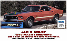 411 & 420-ST 1969 FORD MUSTANG - MACH 1 STRIPE KIT & HOOD PAINT STENCIL
