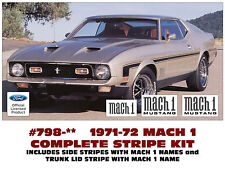798 1971-72 FORD MUSTANG - MACH 1 COMPLETE STRIPE KIT and NAMES - 3 COLORS