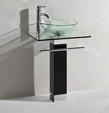 Bathroom Cloakroom Glass Wash Basin Sink Washbasin Pedestal and Glass Shelf