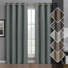 Gulfport Faux Linen Blackout Weave Window Curtains, Single Grommet-Top Panels